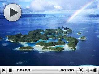 An aerial view of the Micronesian islands of Palau