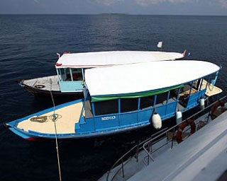 The dive dhonis, used by Amba for diving in the Maldives - photo courtesy of David Hettich
