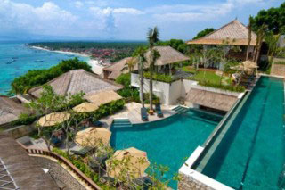 The view of the pool at Batu Karang Lembongan Resort, Bali