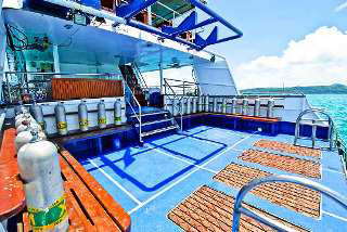 The spacious dive platform on the Deep Andaman Queen