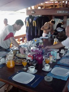 Lunch on the Felicia liveaboard - photo courtesy of Detlef Sarrazin