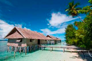 The water cottages at Kri Eco Resort, Raja Ampat, West Papua, Indonesia