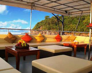 The upper deck of the MV Mermaid II Indonesia liveaboard safari boat