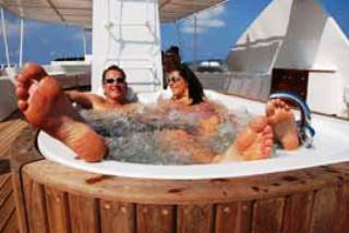 The upperdeck Jacuzzi on the Monsoon