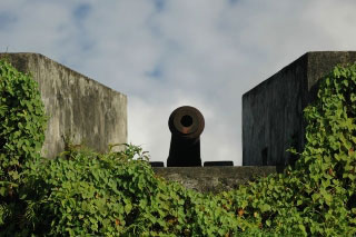 A wall cannon at Fort Belgica, Banda Neira - photo courtesy of Stefan