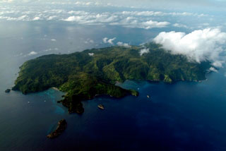 Arial view of Cocos Island - photo courtesy of Undersea Hunter