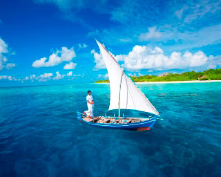 A dhoni boat sailing in the Maldives