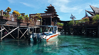 Dive boat at Mabul Water Bungalows - Borneo, Malaysia