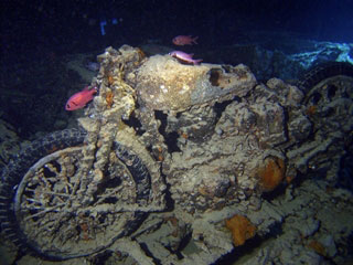 War time BSA motorbikes on the Thistlegorm wreck at  Sharm El Sheikh in the Red Sea - photo courtesy of Ashraf Hassanin
