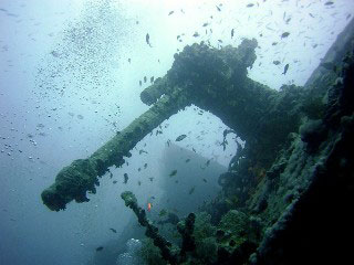 A mounted machine gun on the deck of Sharm El Sheikh's most famous wreck, the HMS Thistlegorm - photo courtesy of Ashraf Hassanin
