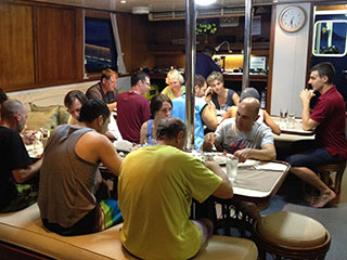 Dining on board the Raja Ampat Aggressor