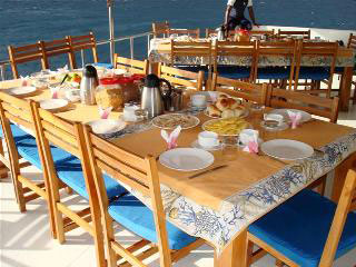 A typical spread for lunch onboard the Princess Haleema