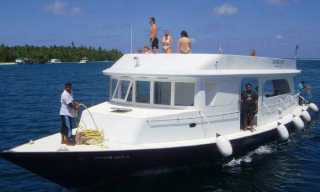Sachika's dhoni boat, for diving in the Maldives