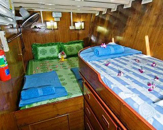 One of the MV Sai Mai's double bed cabins