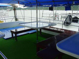 The carpeted upper deck on the West Coast Explorer