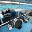 The well organised dive deck with camera table