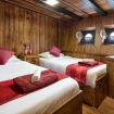 The twin bed configuration of the Deluxe cabins