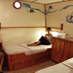 Argo's artistically decorated, sailfish themed, Standard twin bed cabin