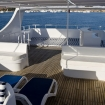 Loungers, bench seating and mats on the sundeck