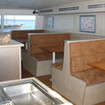 The indoor dining and galley area