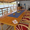 The open air dining area aboard Indonesian liveaboard, the Mangguana
