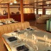 The large dining/saloon area on M.V. Valentina