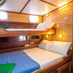 Twin/double cabin with portholes and reading lights