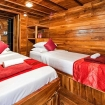 The twin bed configuration of La Galigo's Master cabin
