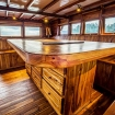 Timber-tastic interior of Indonesian liveaboard Akomo Isseki