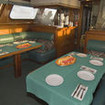 The saloon dining area onboard MV Solmar V