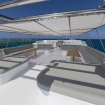 Shaded flybridge seating on board this Red Sea liveaboard