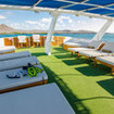 Theupper deck affords guests panoramic views of the Galapagos Islands