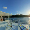 Guests can enjoy Cocos Island scenery from the sun deck