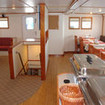 The MV Argo dining area and buffet table