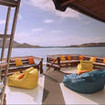 Sun seekers can opt for the upper deck seating on the Ambai liveaboard