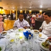 Dining with new cruise friends on M/V Reef Endeavour