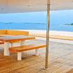 The shaded and open sundeck of Maldives liveaboard, the MV Adora