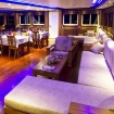 The main deck's spacious lounge and dining area