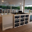 The enormous and orderly dive deck with ample storage
