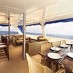 Open-air dining and relaxing on the Indonesia liveaboard Blue Manta