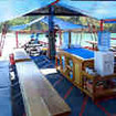 Shaded relaxation space on your liveaboard diving tour in Komodo