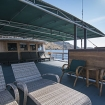 Upper deck open and shaded relaxation areas on Pindito