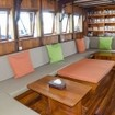 Indoor saloon space on Indonesia liveaboard Amira