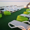 Sun loungers and bean bags on the sun deck