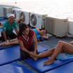 Enjoying a massage on the sundeck of the Dolphin Queen