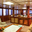 Fiji Aggressor's air-conditioned, open plan saloon and dining room