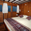 Standard double bed, upper deck cabin accommodation on the Amira