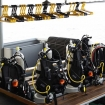 Scuba gear on the spacious and orderly dive deck