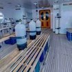 The spacious and orderly dive deck