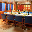 Fiji Aggressor liveaboard's family style dining area